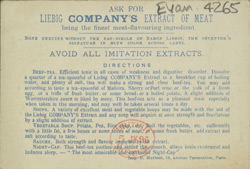 Advert for Liebig Company's Extract of Meat, reverse side